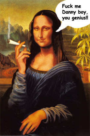 Mona Lisa smoking a joint